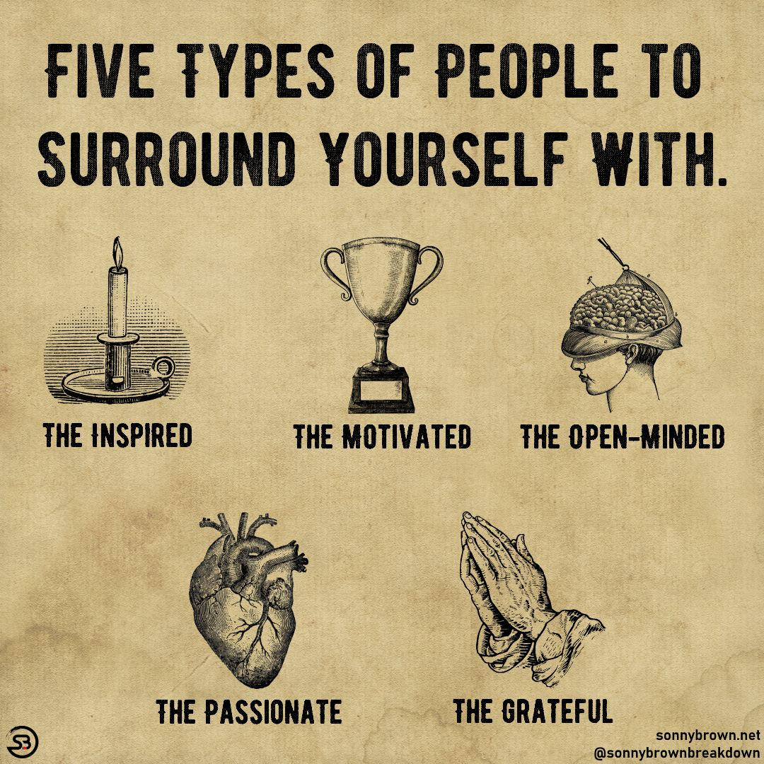 FIVE TYPES OF PEOPLE TO- SURRDUND YOURSELF WITH. THE INSPIRED THE MOTIVATEIJ THE OPEN-MINDED ® sonnybrown.net @sonnybrownbreakdown https://inspirational.ly