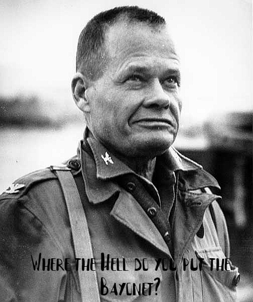 """Where the hell do you put the bayonet?"" – Chesty Puller, upon his first time seeing a flamethrower [503 x 600]"
