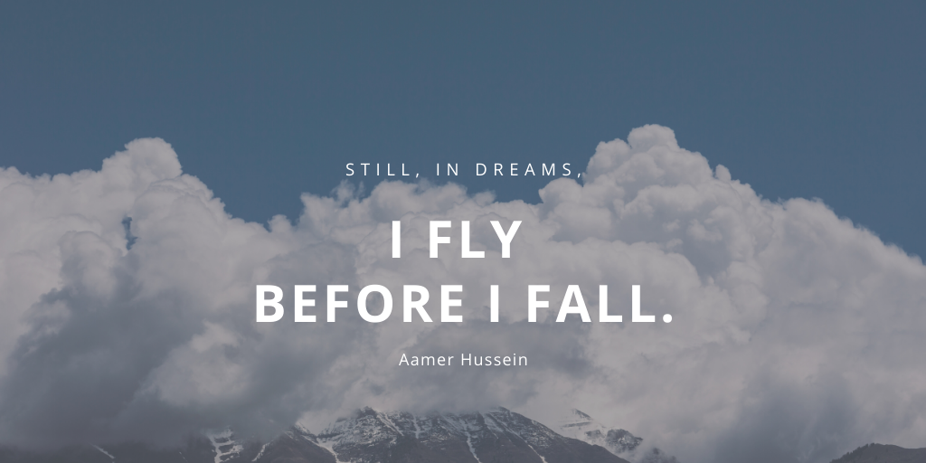 """Still, in dreams, I fly before I fall."" – Aamer Hussein [1024*512]"