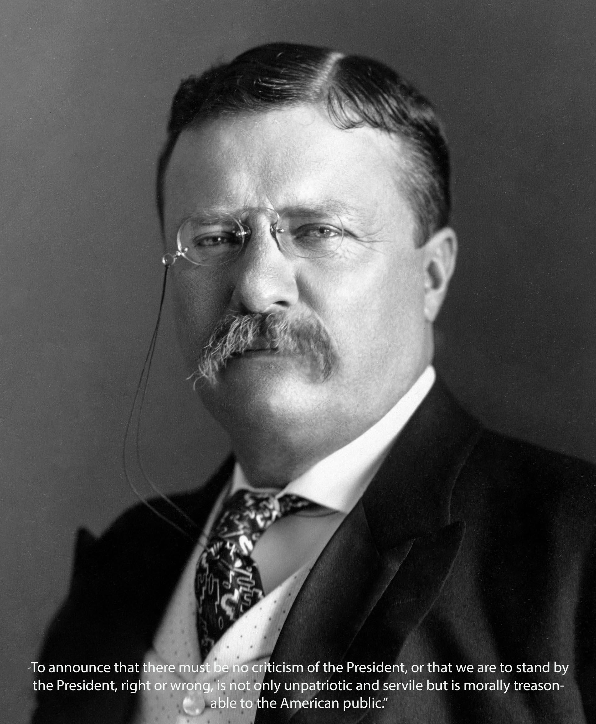 """To announce that there must be no criticism of the President, or that we are to stand by the President, right or wrong, is not only unpatriotic and servile but is morally treasonable to the American public."" ~ Theodore Roosevelt (1920×2332)"