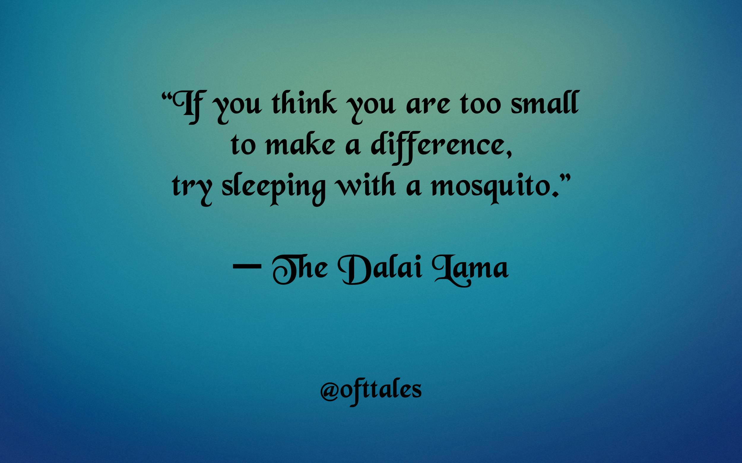 "[image] ""If you think you are too small to make a difference, try sleeping with a mosquito."" – The Dalai Lama"