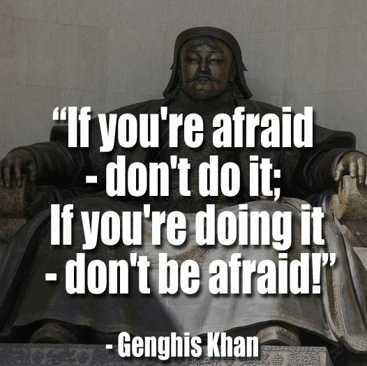 If you are afraid don't do it, if you're doing it don't be afraid- Genghis Khan [1280×860]
