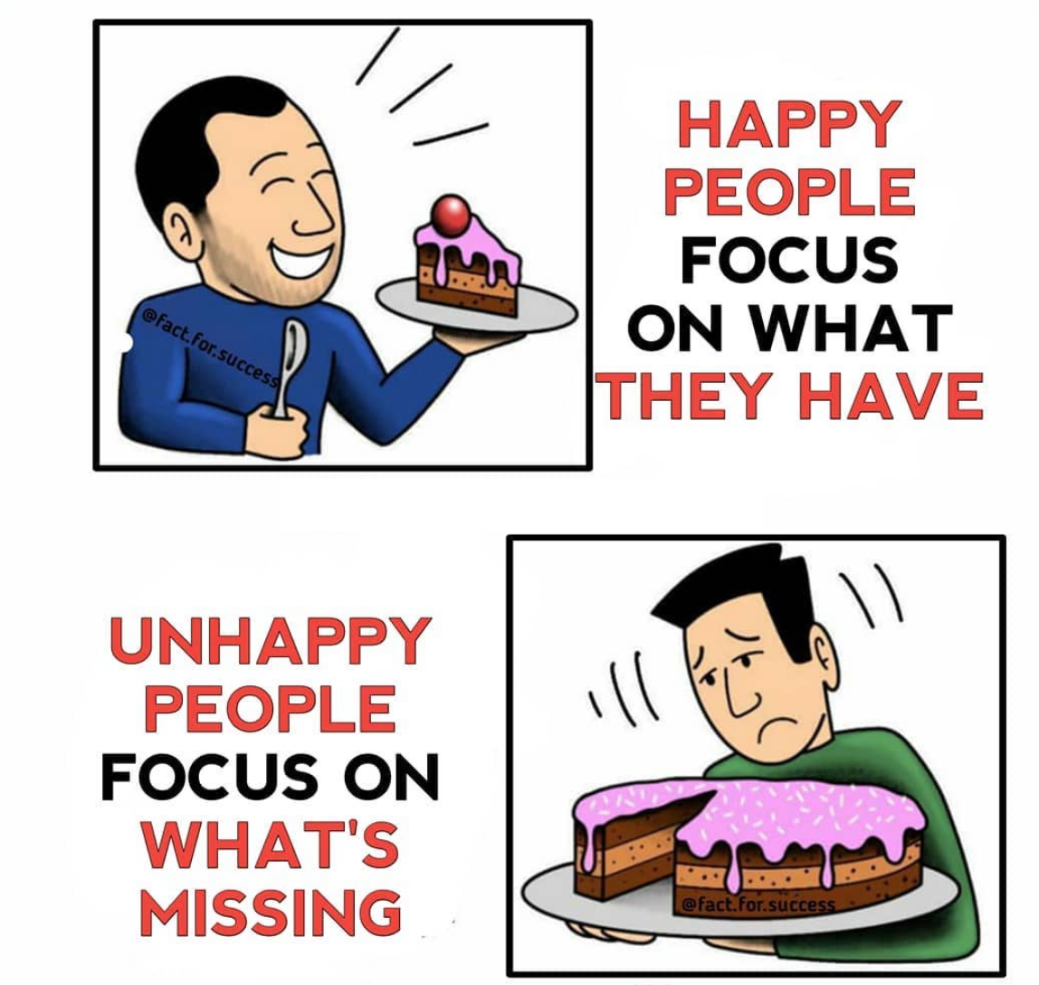 [Image] To be happy in life, you need to focus on what you have instead of complaining about what you're missing