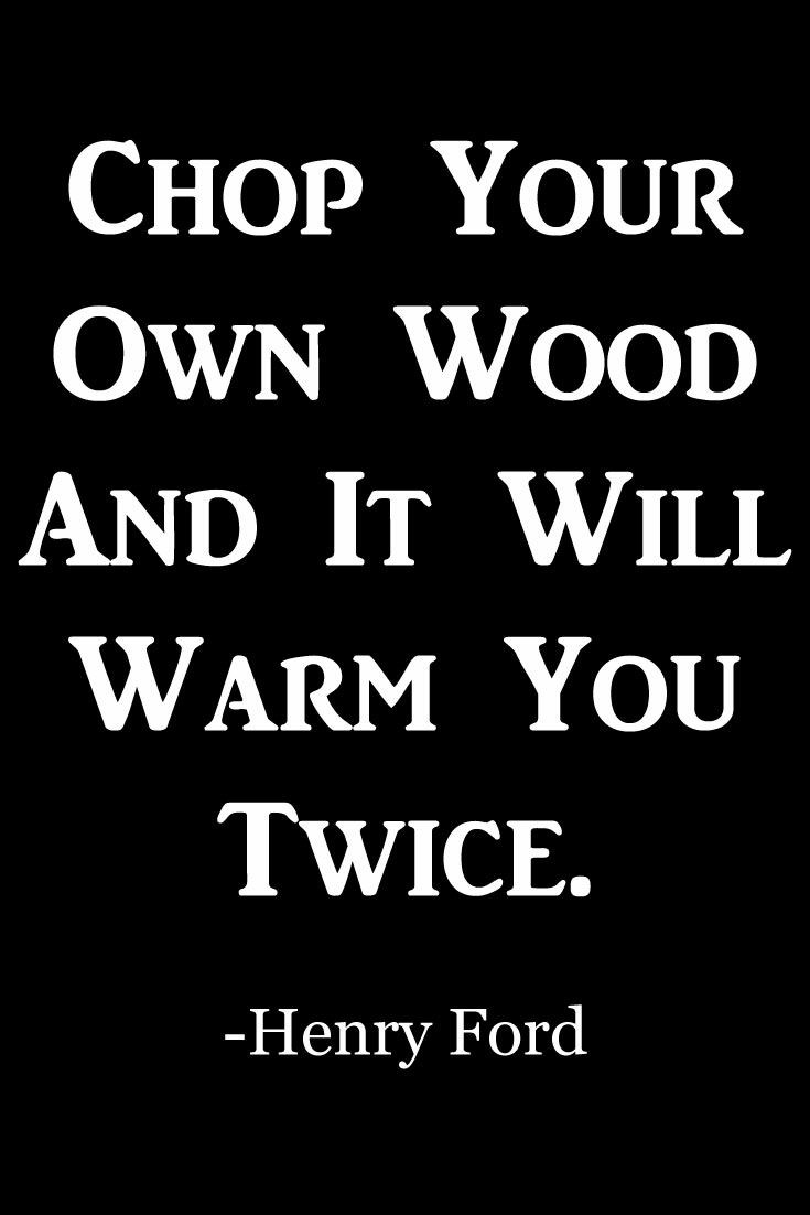 Chop your own wood and it will warm you twive – Henry ford [1260×1000]