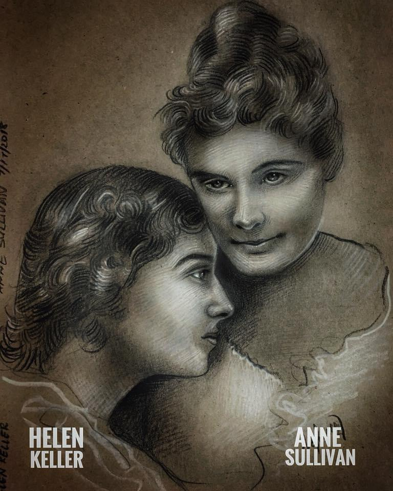 """The only thing worse than being blind is having sight but no vision."" Helen Keller. Drawing by me of Helen Keller and Anne Sullivan. [765×970]"