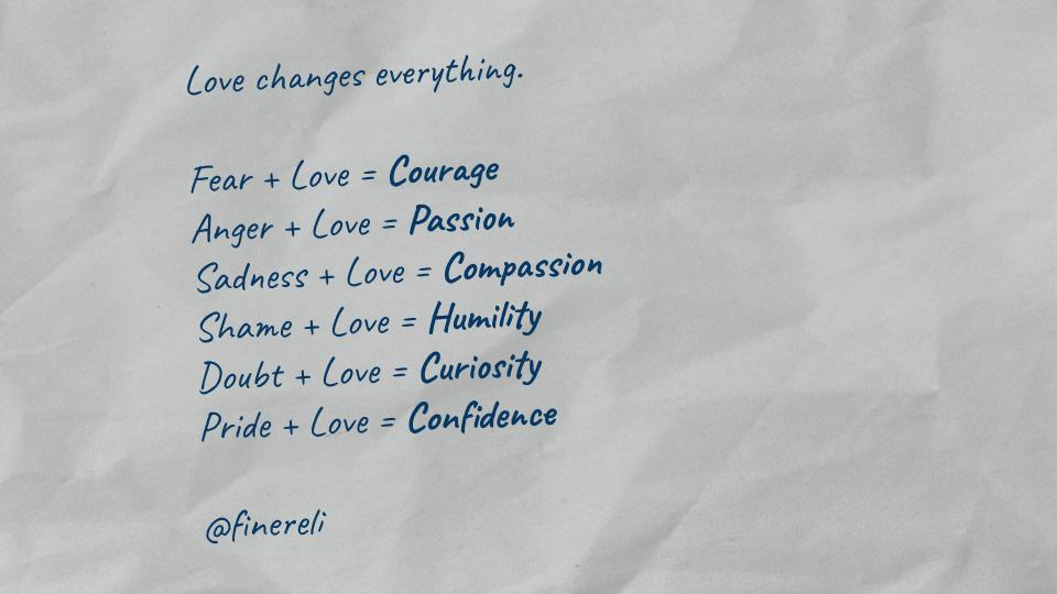 Cove change: everything. Fear + Love = Courage Anger + [,ove = Pacrc'on gadnecc + Love = Compas'cion ghame + Cove = Humi/I'zy Douét + [,ove = Curiorhj/ Pride + Cove = Confidence @fiuere/i https://inspirational.ly