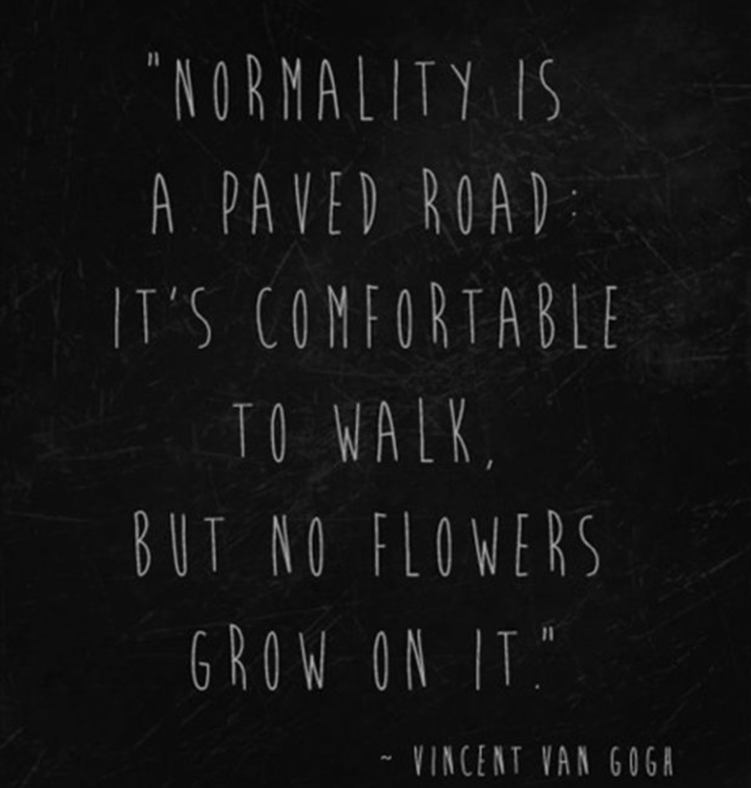 """ Normality is a paved road: it's comfortable to walk. But no flowers grow on it."" – Vincent Van Gogh [1080×1133]"