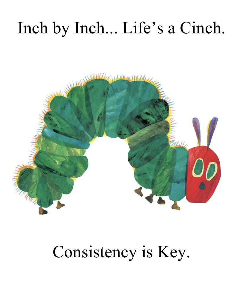 Inch by Inch... Life's a Cinch. Consistency is Key. https://inspirational.ly