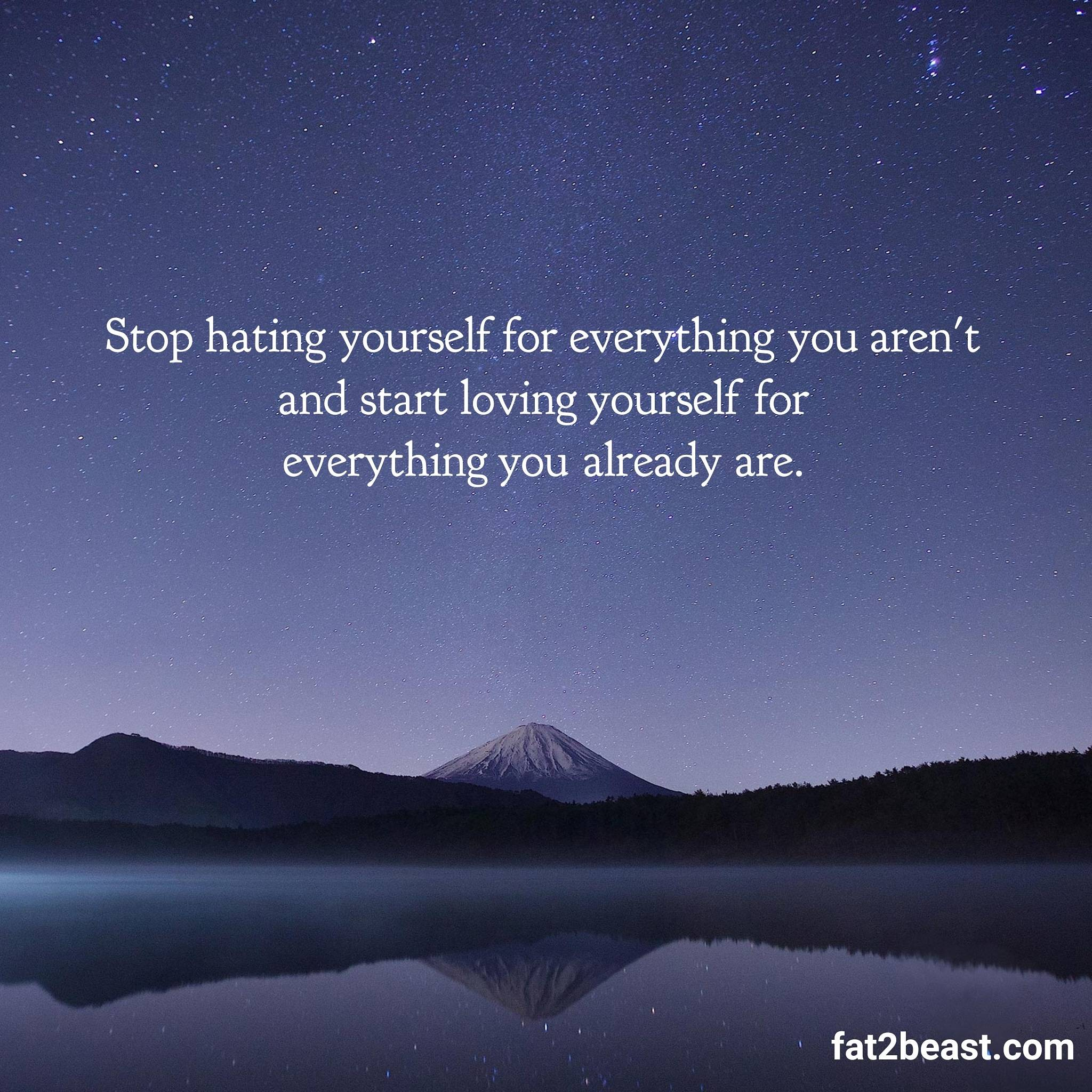 [IMAGE] Stop hating yourself for everything you aren't, start loving yourself for everything you are.