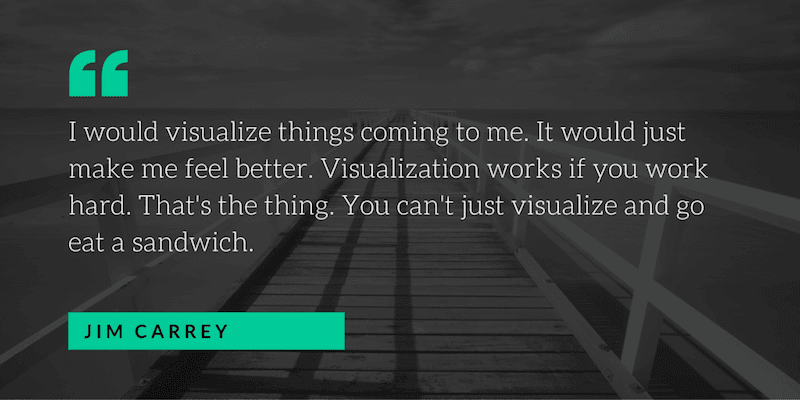 I would visualize things coming to me. It would just make me feel better. Visualization works if you work hard. That's the thing. You can't just visualize and go eat a sandwich. —Jim Carrey [800×400]