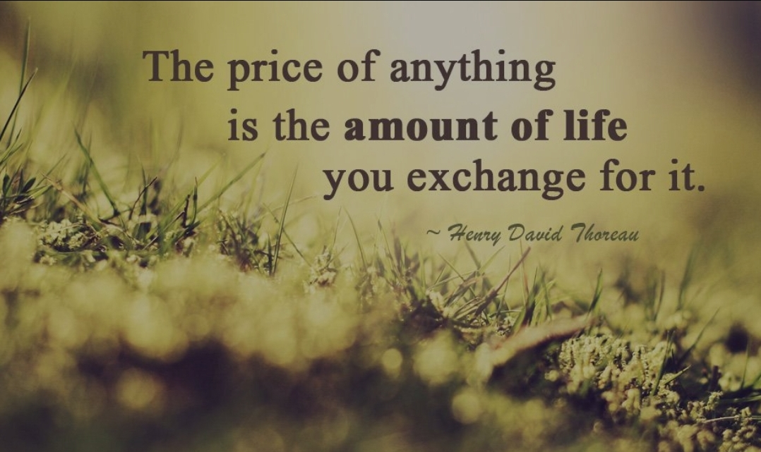 """ The price of anything is the amount of life you exchange for it.""- Henry David Thoreau [1078×641]"
