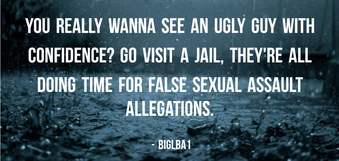 """You really wanna see an ugly guy with confidence? Go visit a jail, they're all doing time for false sexual assault allegations."" – BigLBA1 [1080×513]"