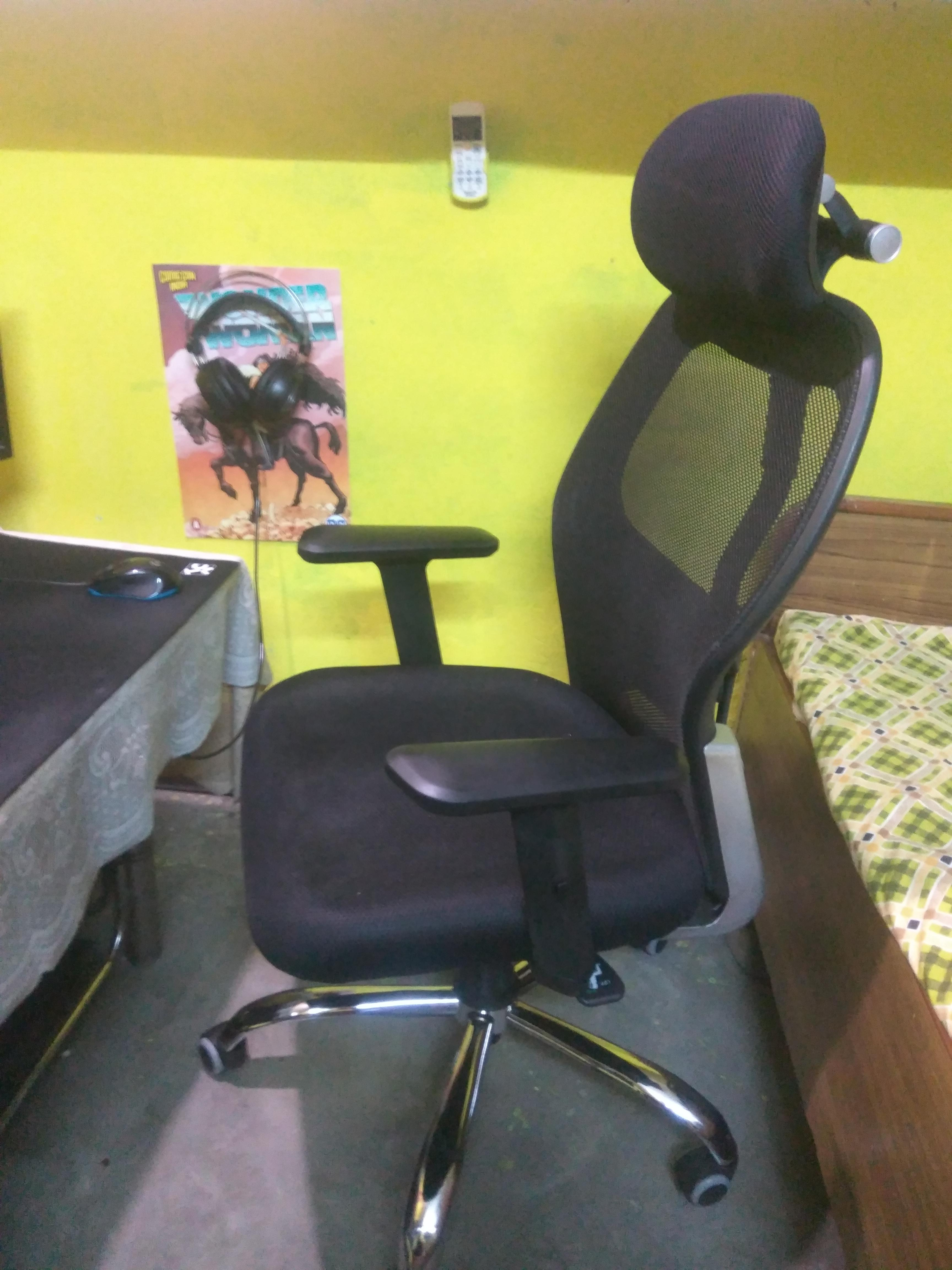 [image] After 8 years of almost killing my back on a rock hard plastic chair, I was able to afford a decent chair, bought it with my hard earned money.