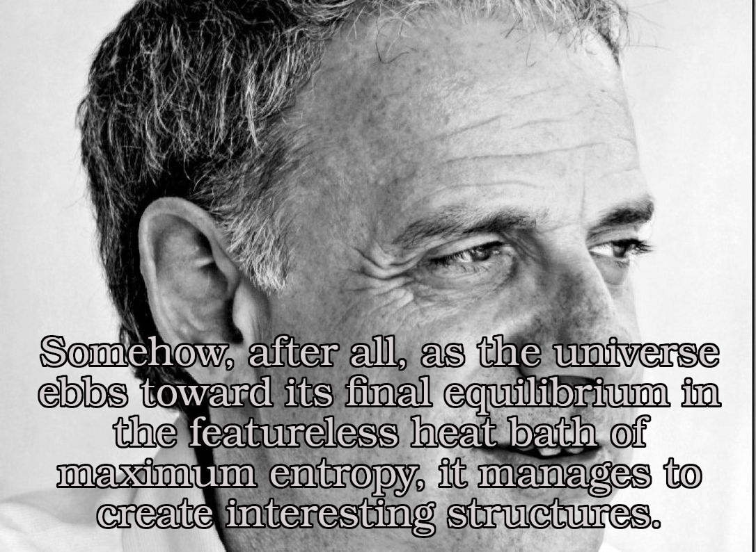 """Somehow, after all, as the universe ebbs toward its final equilibrium in the featureless heat bath of maximum entropy, it manages to create interesting structures."" – James Gleick, Chaos: Making a New Science (1987) [1086×794]"