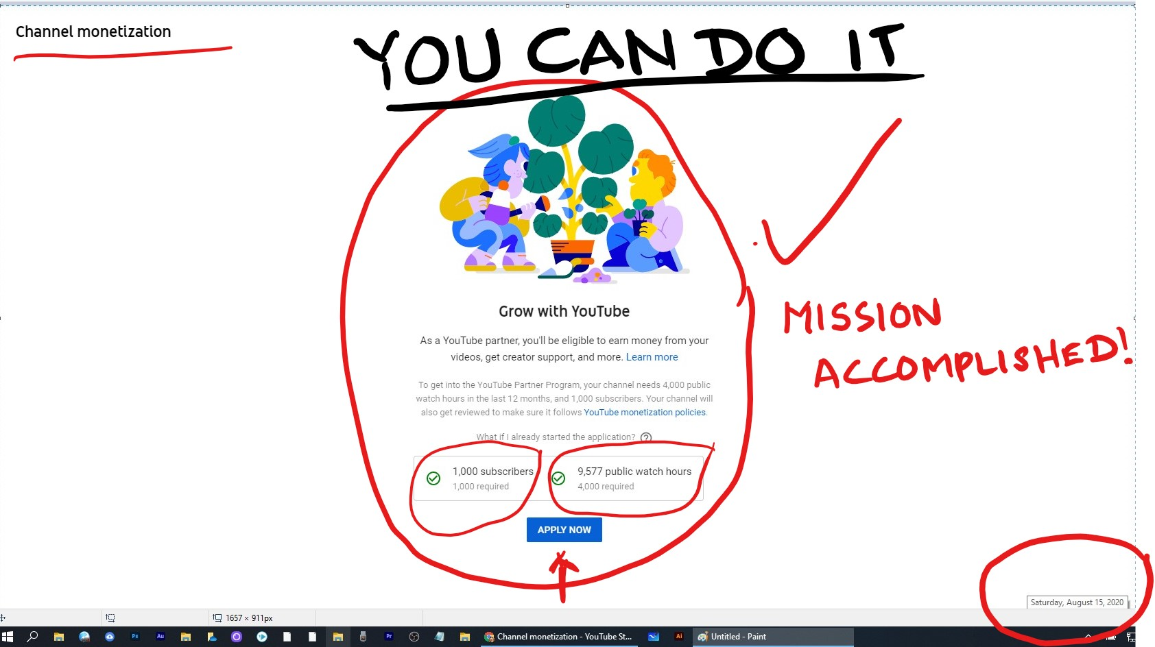 """[IMAGE] """"You Can Do It"""". 3 days ago I had posted at 398 subscribers & 5189 watch hours. See my profile for that post. In the meantime, my channel blew up & only 3 days later I'm happy to report almost 10,000 watch hours and 1000 subscribers. """"Eligible for Monetization"""". You can do It. Never give up."""