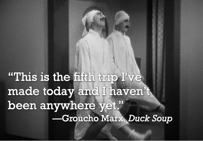 """This is the fifth trip I've made today and I haven't been anywhere yet."" —Groucho Marx, Duck Soup [673 x 467]"