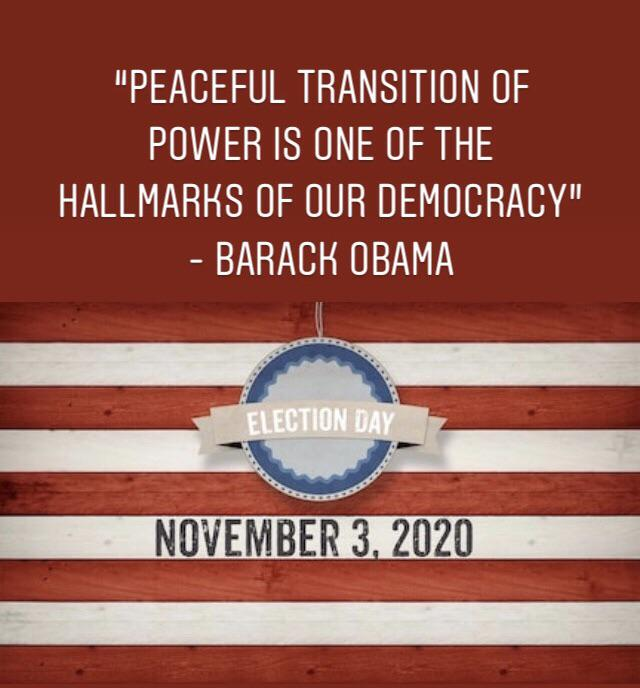 """The peaceful transition of power is one of the hallmarks of our democracy. And over the next few months, we are going to show that to the world."" – Barack Obama [1200×800]"