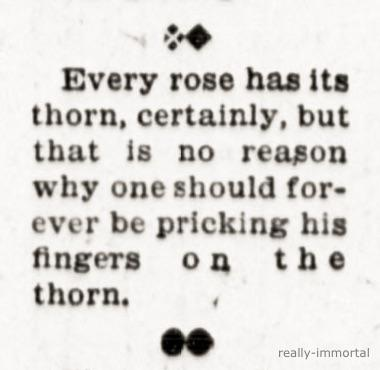 """Every rose has its thorn, certainly, but that is no reason why one should forever be pricking his fingers on the thorn."" -W. D. Nesbit (circ. 1905) [380×370]"