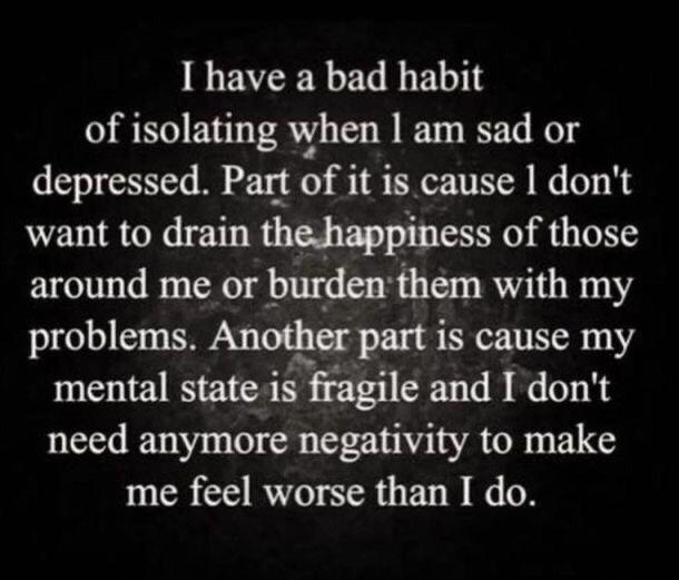 "[Image] We have to stop thinking that this is a ""bad habit."" It makes life easier when you think about it. People that care about you will know this, and give you space. The people that get angry at you for this never cared about you in the first place."