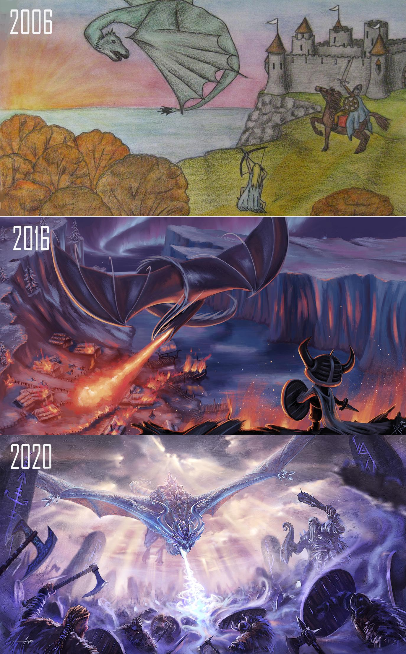 [Image] In 2006 my boyfriend asked me an epic painting for his birthday. 10 years later I decided it was time to finally do what I really wanted. I quit my old job and started to learn how tho paint. I never stoped since then! And I painted him updated versions over the years. :)