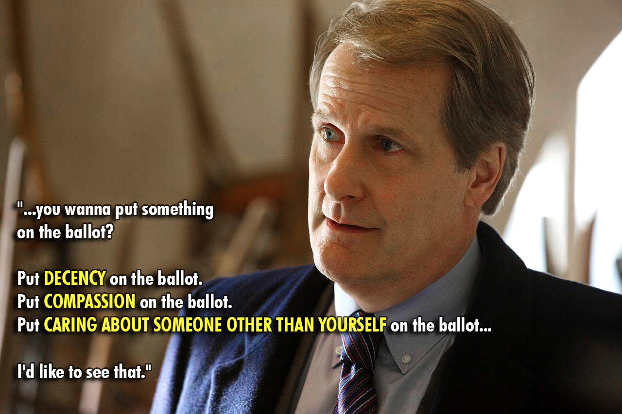 """…put decency on the ballot. Put compassion on the ballot…"" – Jeff Daniels [1280 x 853]"