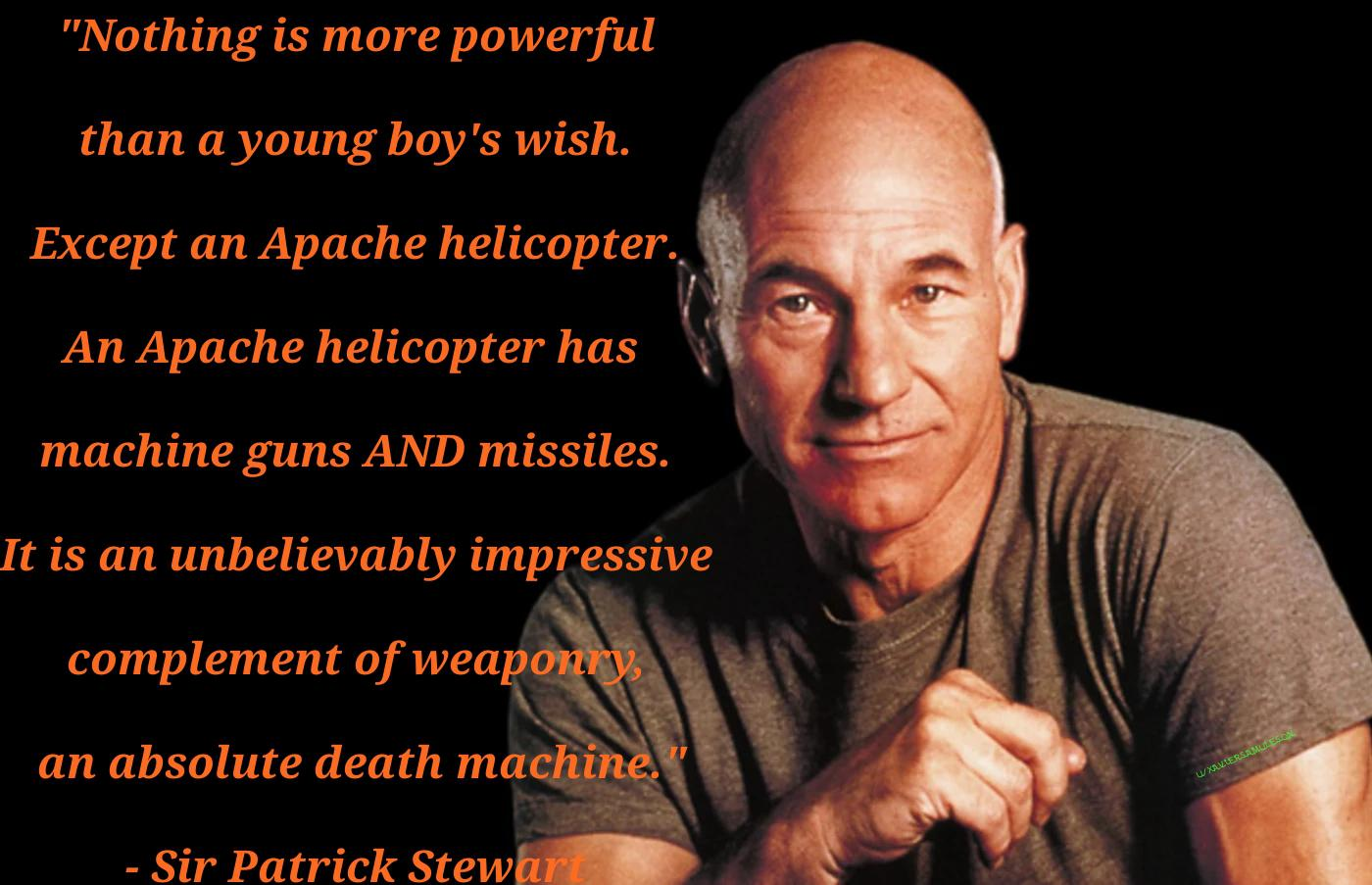 A young boy's wish.- Patrick stewart [OC] [1400X903]