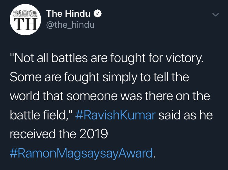 Not all battles are fought for victory. Some are fought simply to tell the world that someone was there on the battle field. Ravish Kumar [750×558]