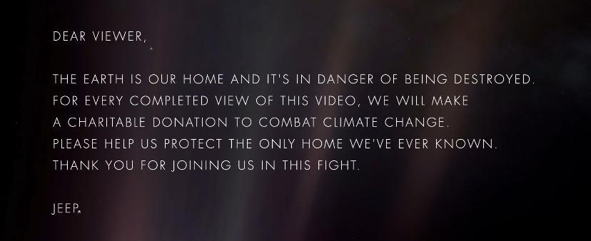 [Image] For every completed view of this Pale Blue Dot video a donation will be made to Climate Change charities