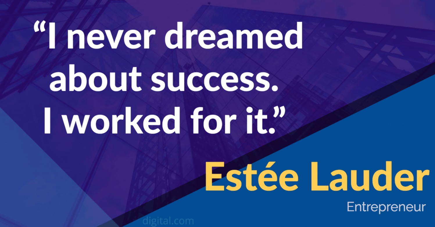 [image] Estee Lauder's quote on success.