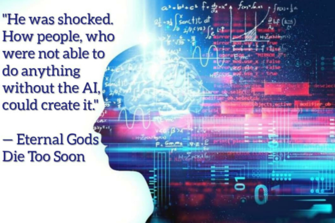 "Our future (?) ""He was shocked. How people, who were not able to do anything without the AI, could create it."" Eternal Gods Die Too Soon by Beka Modrekiladze [1078×719]"