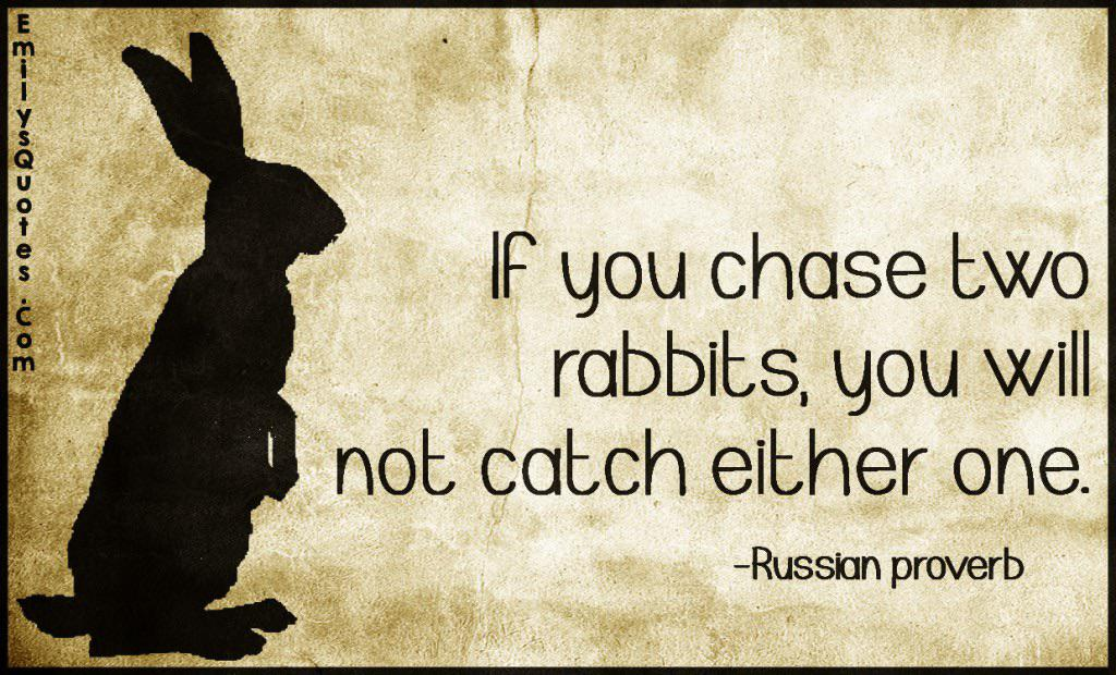 If you chase two rabbits, you will not catch either one – Russian Proverb [Image]