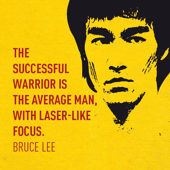 The succesful warrior is the average man , with laser like focus . ~ Bruce Lee (554×554)