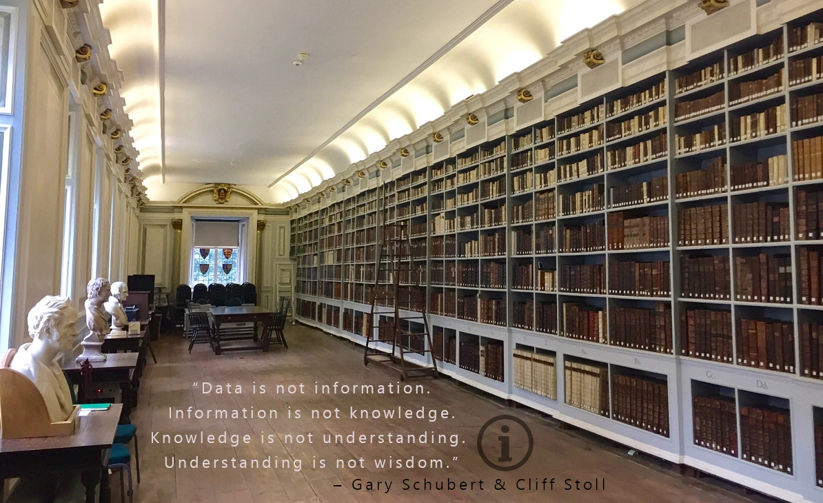 """Data is not information. Information is not knowledge. Knowledge is not understanding. Understanding is not wisdom."" – Gary Schubert & Cliff Stoll [1194×730]"