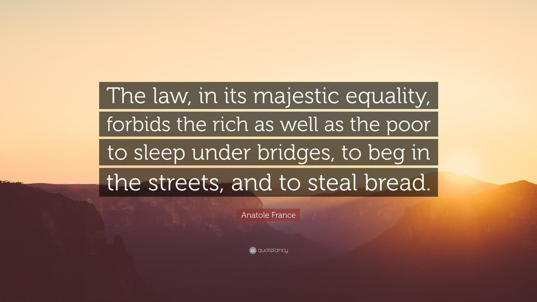 """The law, in its majestic equality, forbids the rich as well as the poor to sleep under bridges, to beg in the streets, and to steal bread."" – Anatole France [3109 x 1748]"
