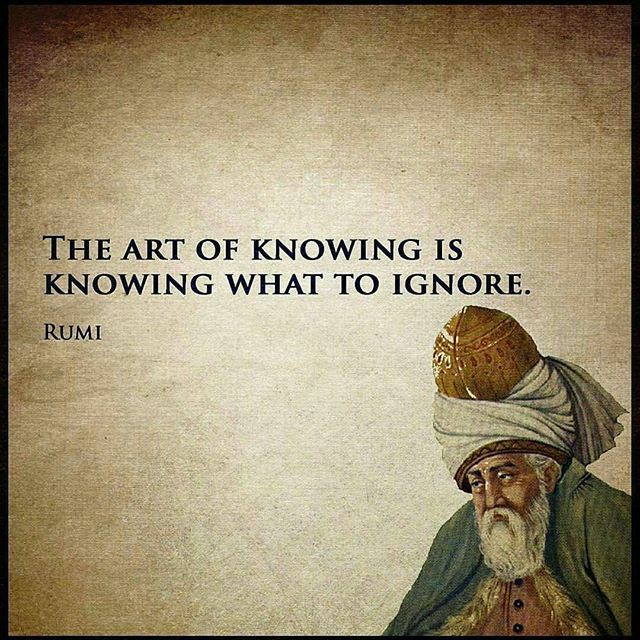 The art of knowing is knowing what to ignore. Rumi [640×640]