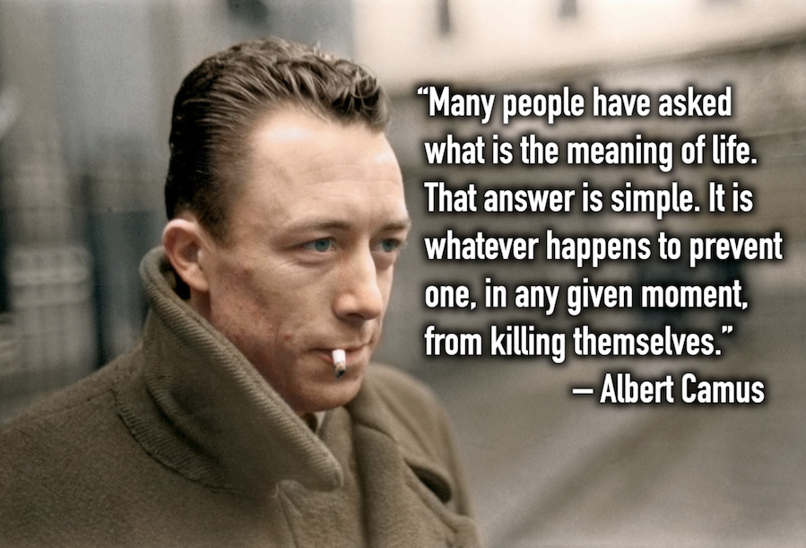 'Many people have asked what is the meaning of life…' –Albert Camus [899×611]