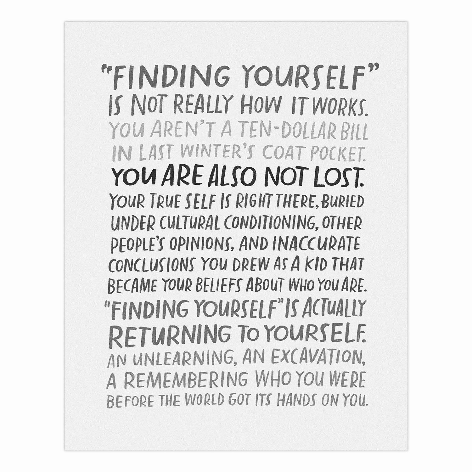 """Finding Yourself"" – Emily McDowell [ 1000×2000]"