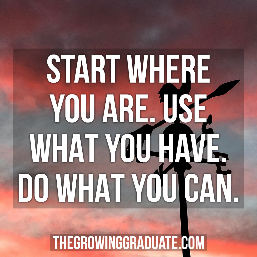 [Image] Start where you are, Use what you have. Do what you can.