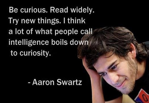 """Be curious. Read widely. Try new things. I think a lot of what people call intelligence boils down to curiosity."" – Aaron Swartz (525×363)"