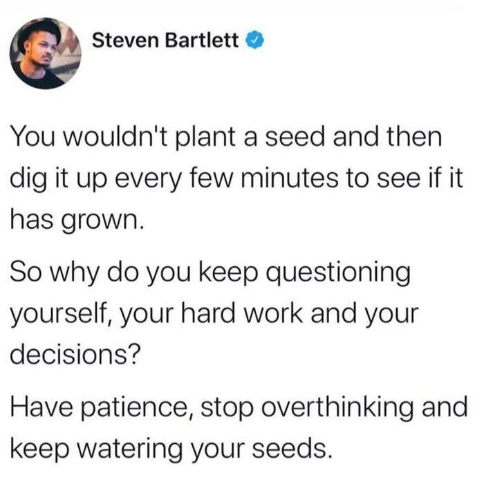 [Image] Patience is the key to success.