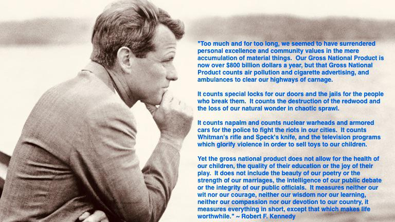 """""Too much and for too long, we seemed to have surrendered personal excellence and community values in the mere accumulation of material things…"" ~ Robert F. Kennedy [768×432]"
