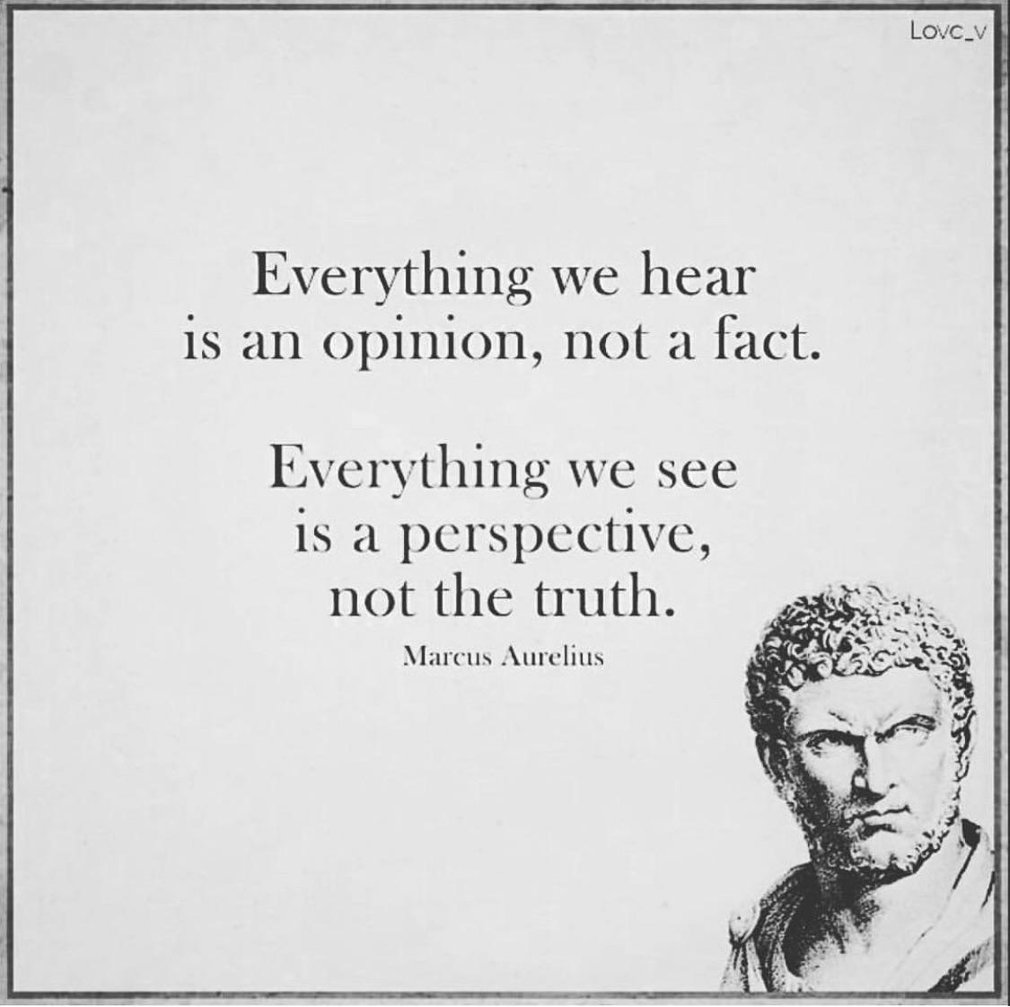 """Everything we hear is an opinion, not a fact. Everything we see is a perspective, not the truth."" – Marcus Aurelius [1125 x 1121]"