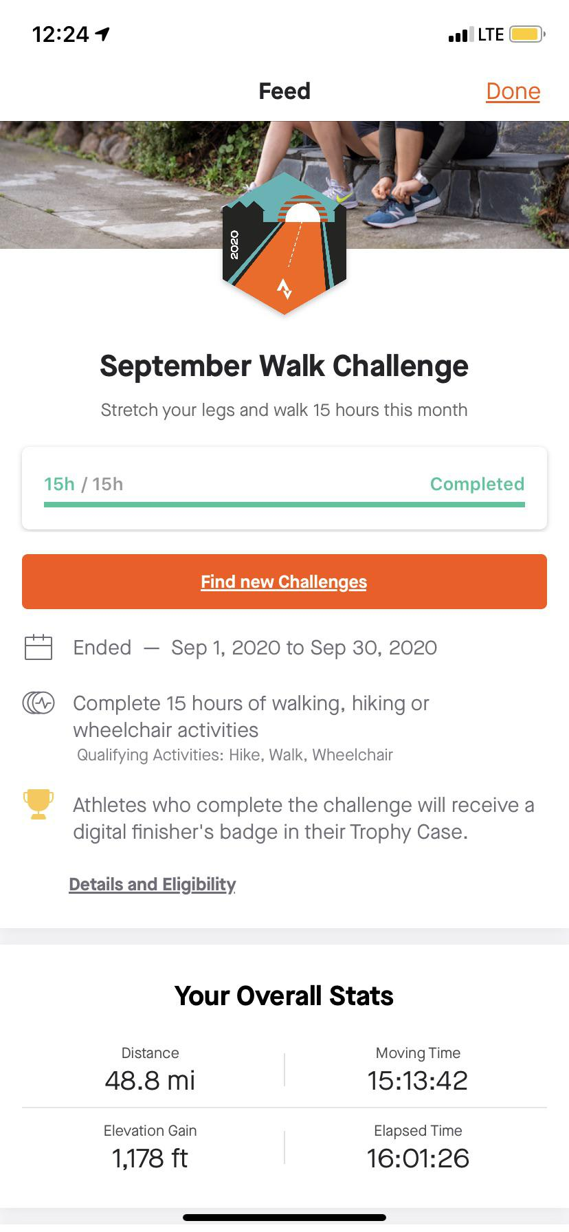 [Image] Decided to start tracking how much I walk in August, the app I use had a walking challenge for the month of September and I finished it! Baby steps to getting healthy and feeling good.