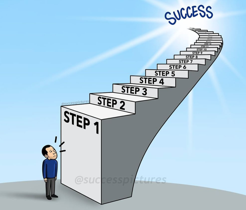 [Image] It's hard to take the first step to success