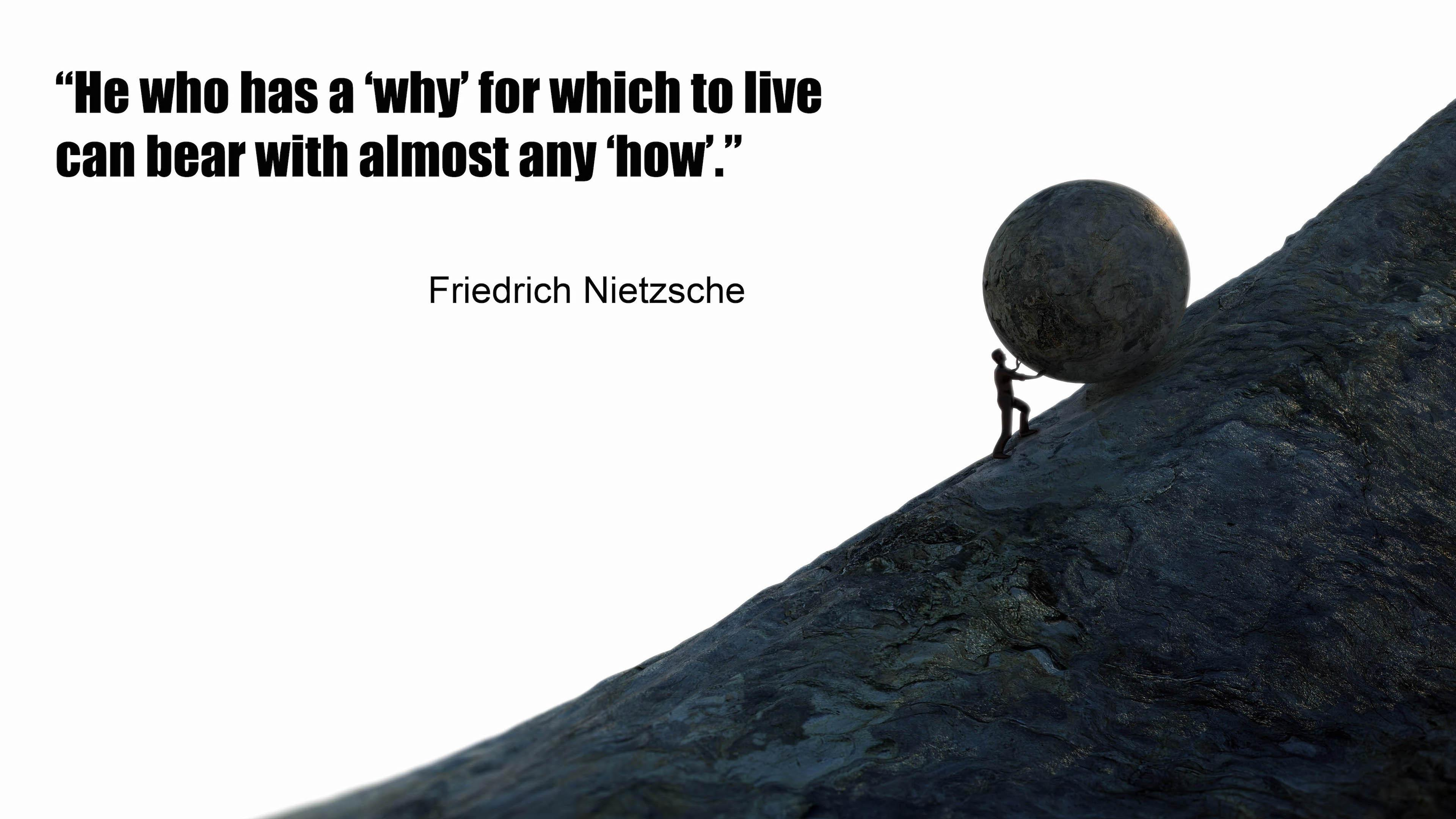 """He who has a 'why' for which to live can bear with almost any 'how'.""— Friedrich Nietzsche-[3840*2160]"