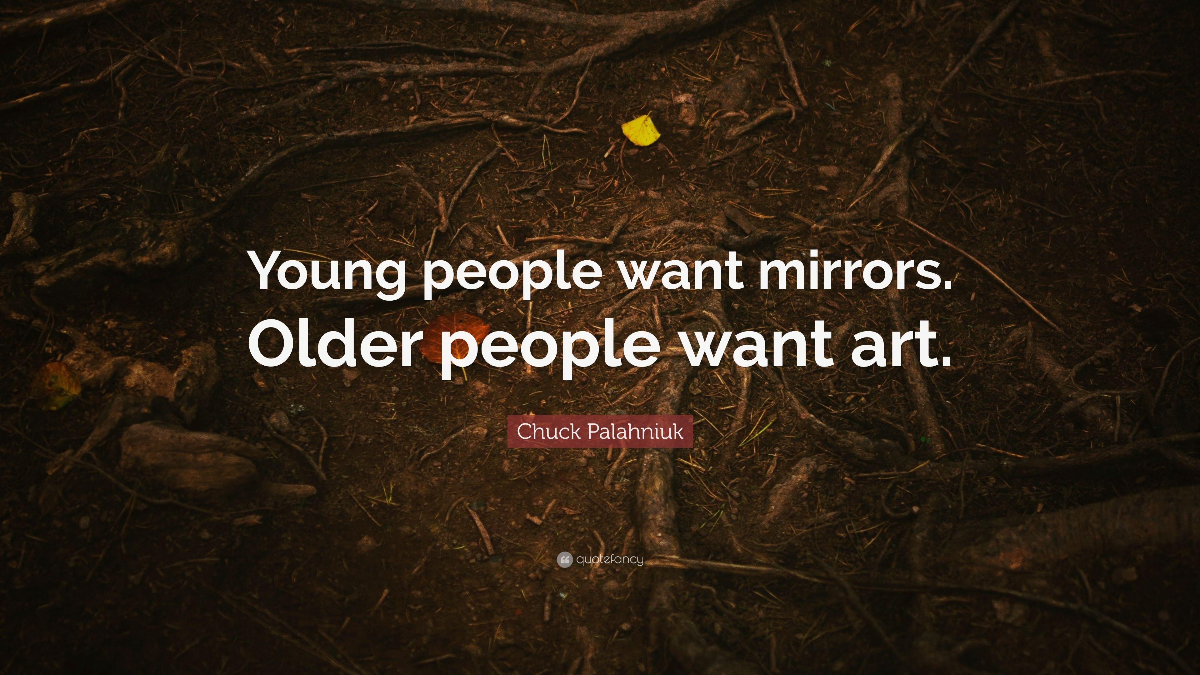 """Young people want mirrors. Older people want art."" – Chuck Palahniuk [3840*2160]"