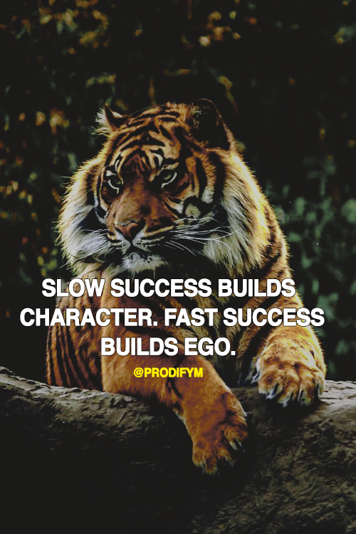 [image] Slow success build character. Fast success builds ego.