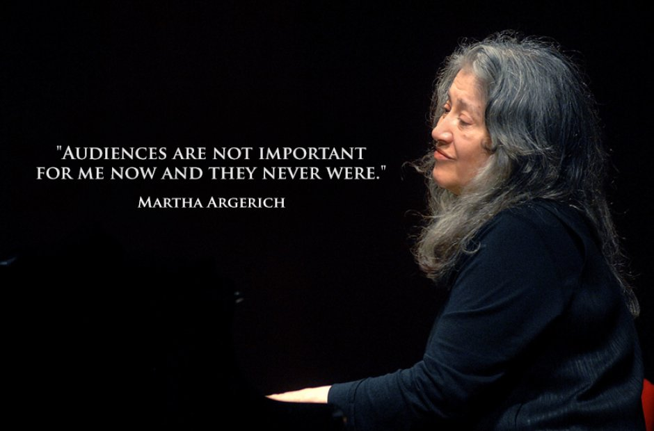 """Audiences are not important for me now and they never were."" -Martha Argerich [940×620]"