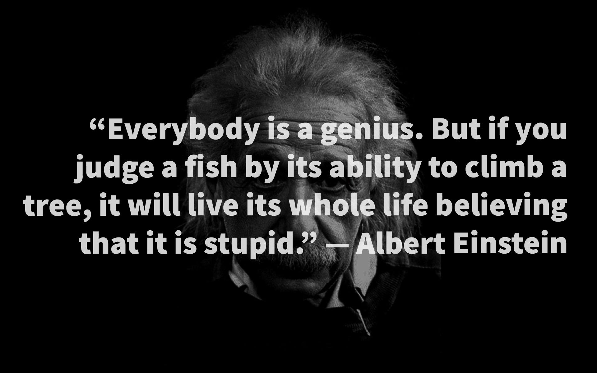 """Everybody is a genius. But if you judge a fish by its ability to climb a tree, it will live its whole life believing that it is stupid."" — Albert Einstein [4000 x 2500]"