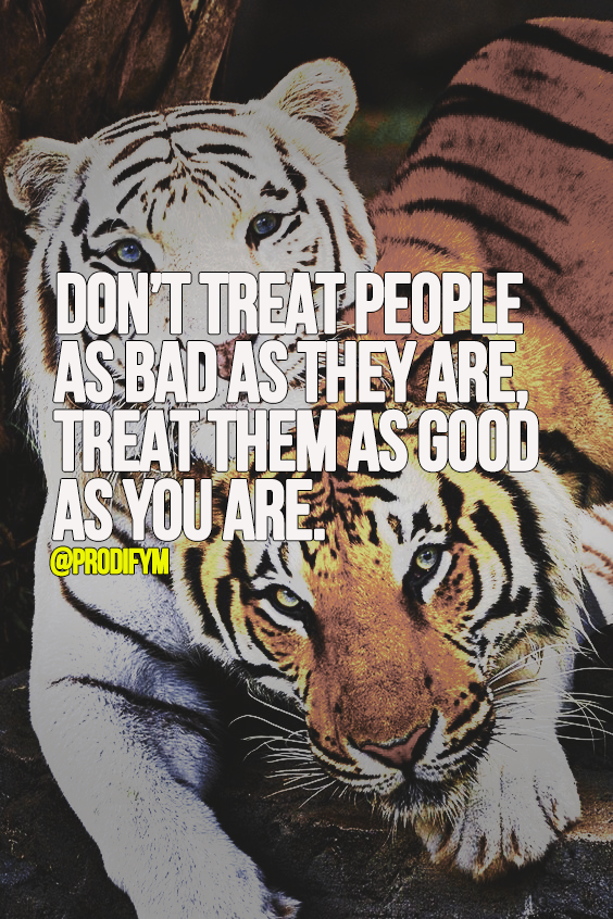 [image]Don't treat people as bad as they are, treat them as good as you are.